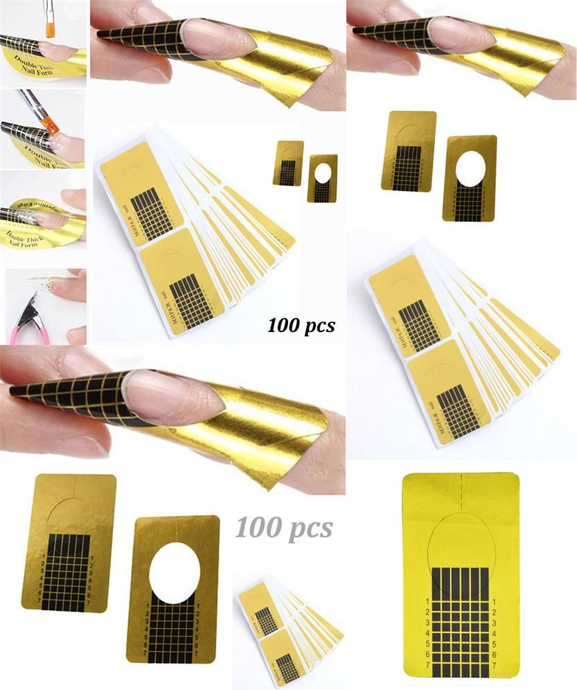 Visit to Buy] 100pcs/roll Nail Art Extension Sticker Guide Form ...