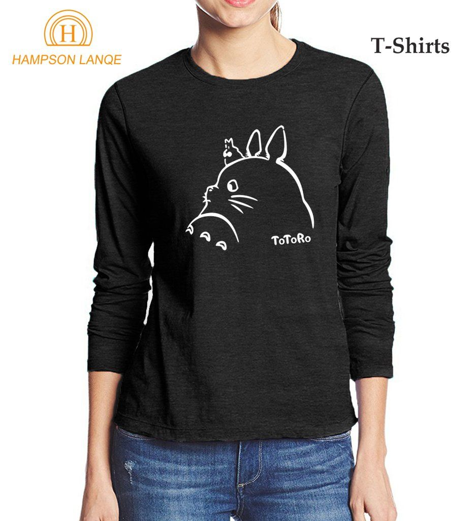 Totoro Printed Women Long Sleeve T Shirts Women Long Sleeve Long Sleeve Tshirt Tops Tees [ 1024 x 933 Pixel ]