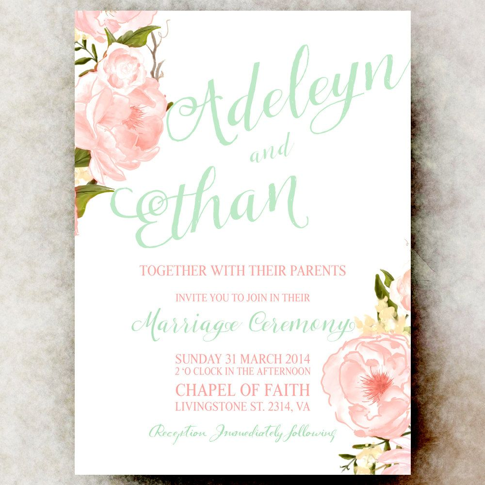 Mint Green Coral Wedding Invitation Floral by DivineGiveDigital ...