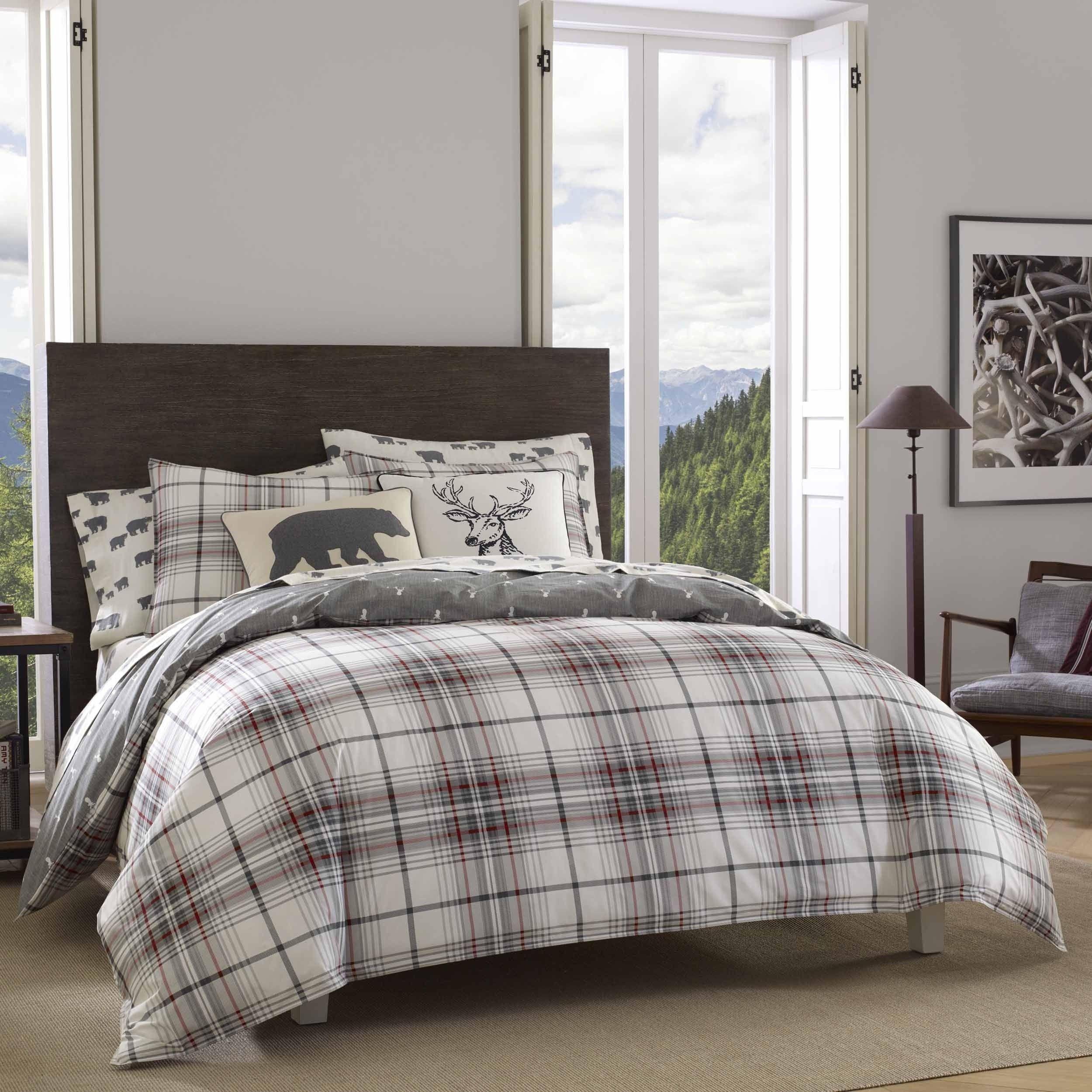 Eddie Bauer Alder Plaid Duvet Cover Set Full Queen White Products Duvet Bedding Plaid Bedding Plaid Comforter