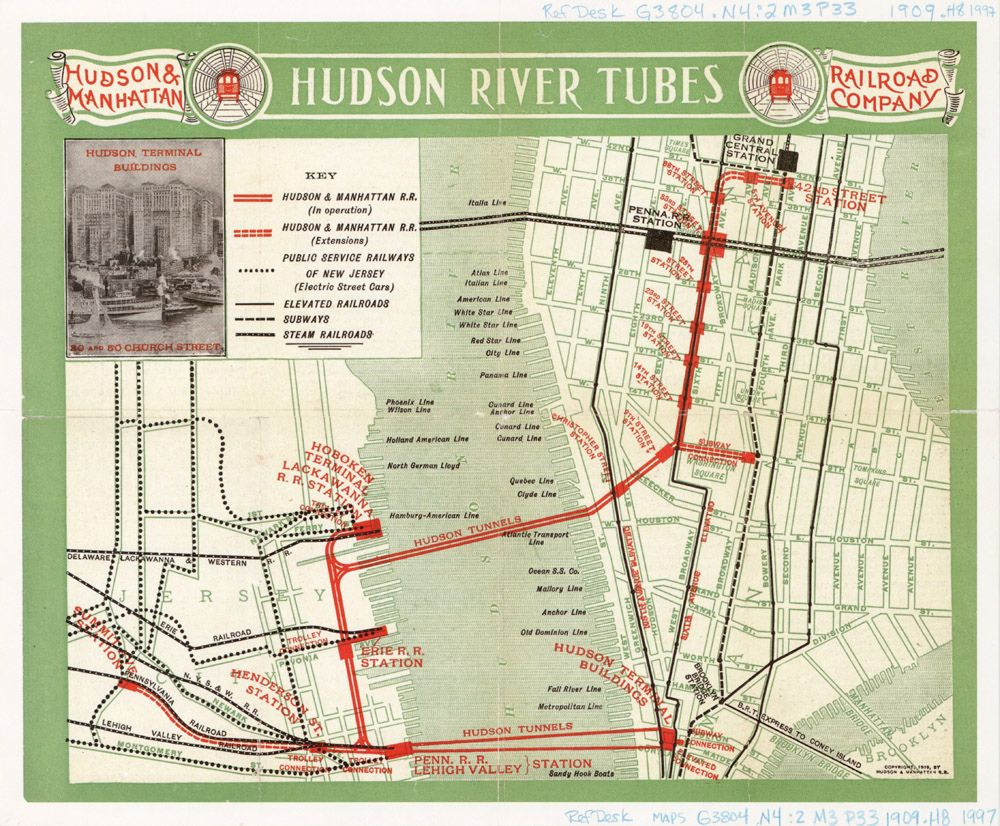 Nyc Subway Map Scan.Hudson River Tubes 1909 Cartography Map Map Of New York Map Globe