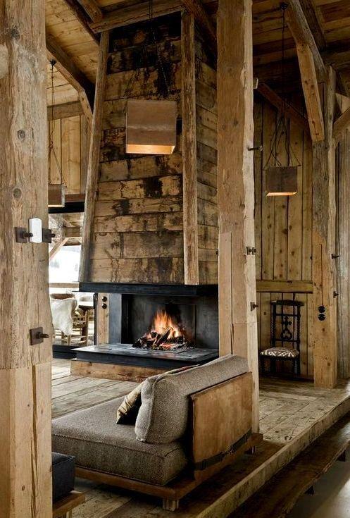 paredes casas de madera Pinterest Open fireplace, Fireplace - paredes de madera