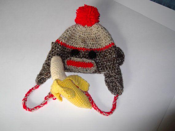 Crochet Sock Monkey Hat with Earflaps by HookUUpCustomCrafts, $25.00