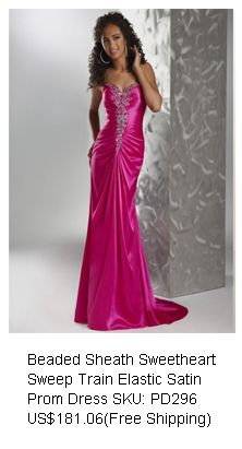 Pink Royale Beaded Sheath Sweetheart Sweep Train Elastic Satin Prom Dress... love.