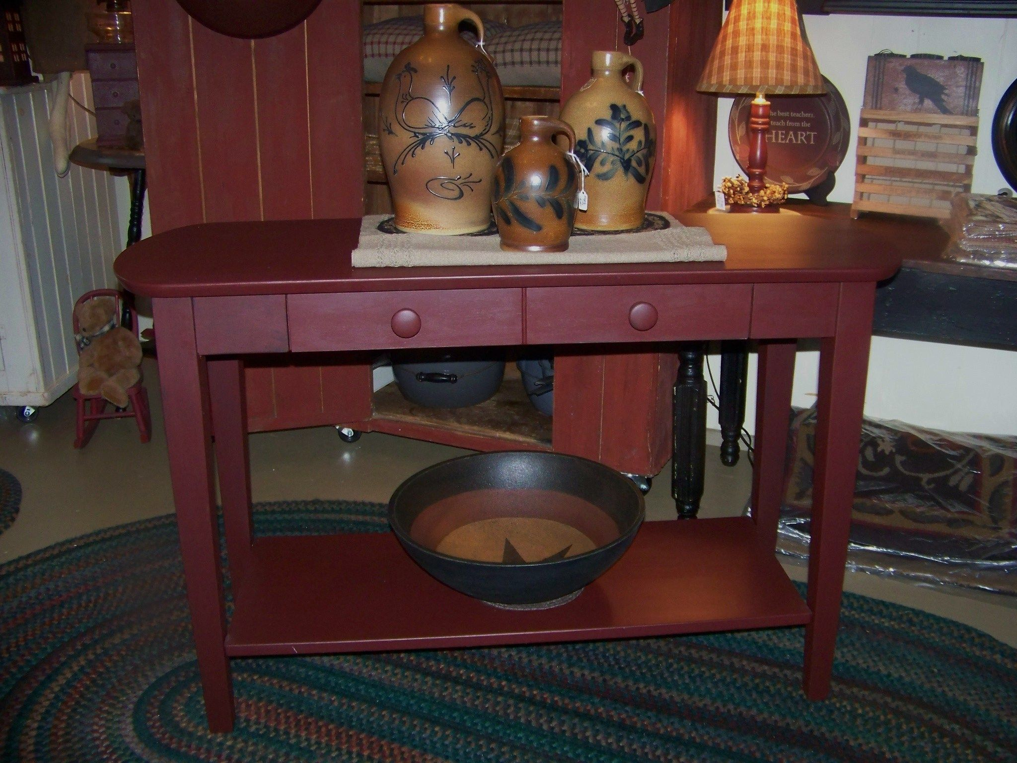 Red country table primitive decor ideas pinterest for Primitive home decor