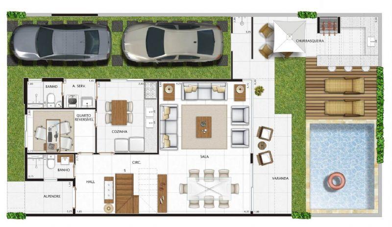 Planta de casa de 3 quartos pequena com area gourmet e - Modelos de casas de campo pequenas ...