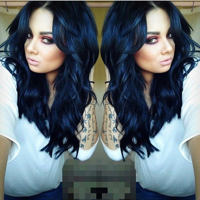 long black hair. love this bold look with tan skin and blue or ...