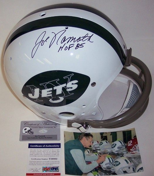 6b40c5d4047 Joe Namath Autographed Hand Signed New York Jets Throwback Full Size Helmet…