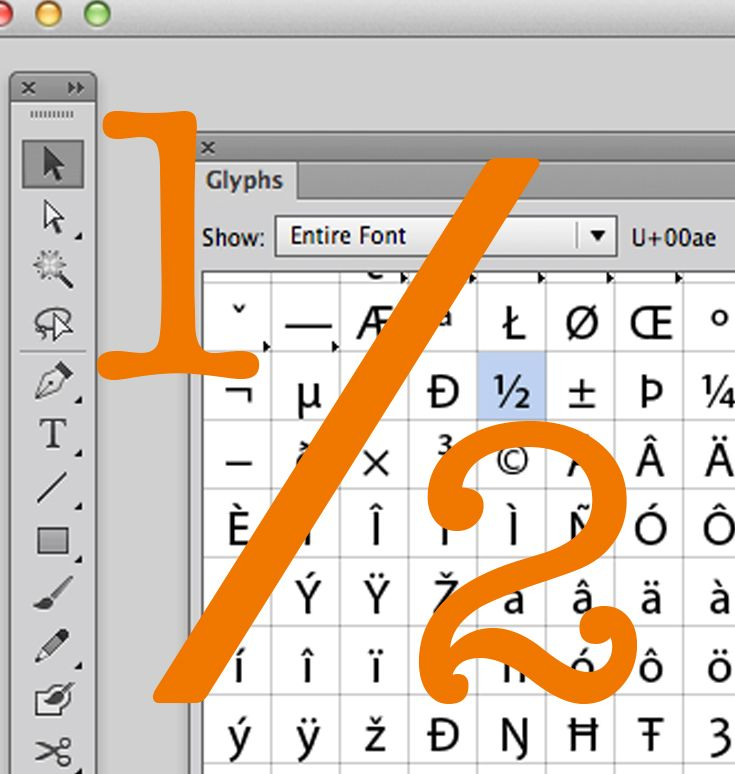 Illustrator Tutorial How To Type Fractions Glyphs We Can All Type A 1 2 But How Do We Make A Cute Tight Little Fracti Illustrator Tutorials Tutorial Glyphs