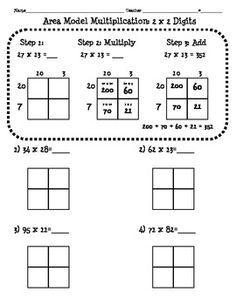 Nbt 5 Area Model Multiplication Worksheet 2 Digit X Good For Math Notebook