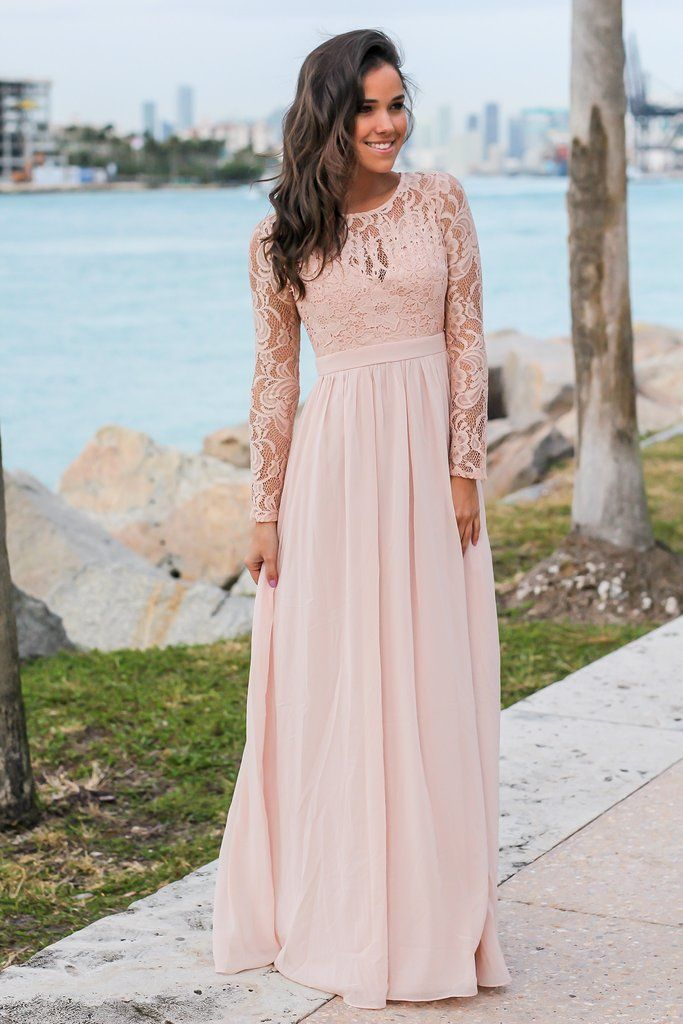 407d34c9eb Blush Long Sleeve Maxi Dress with Crochet Top