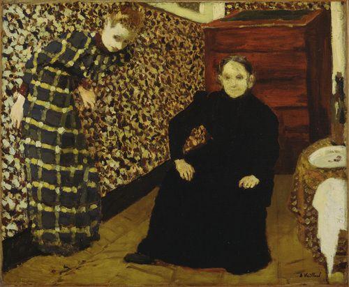 one of my fave vuillard interiors. calm, yet psychologically intense. Interior, Mother and Sister of the Artist  Édouard Vuillard (French, 1868-1940) #fashion #art #prints #vuillard