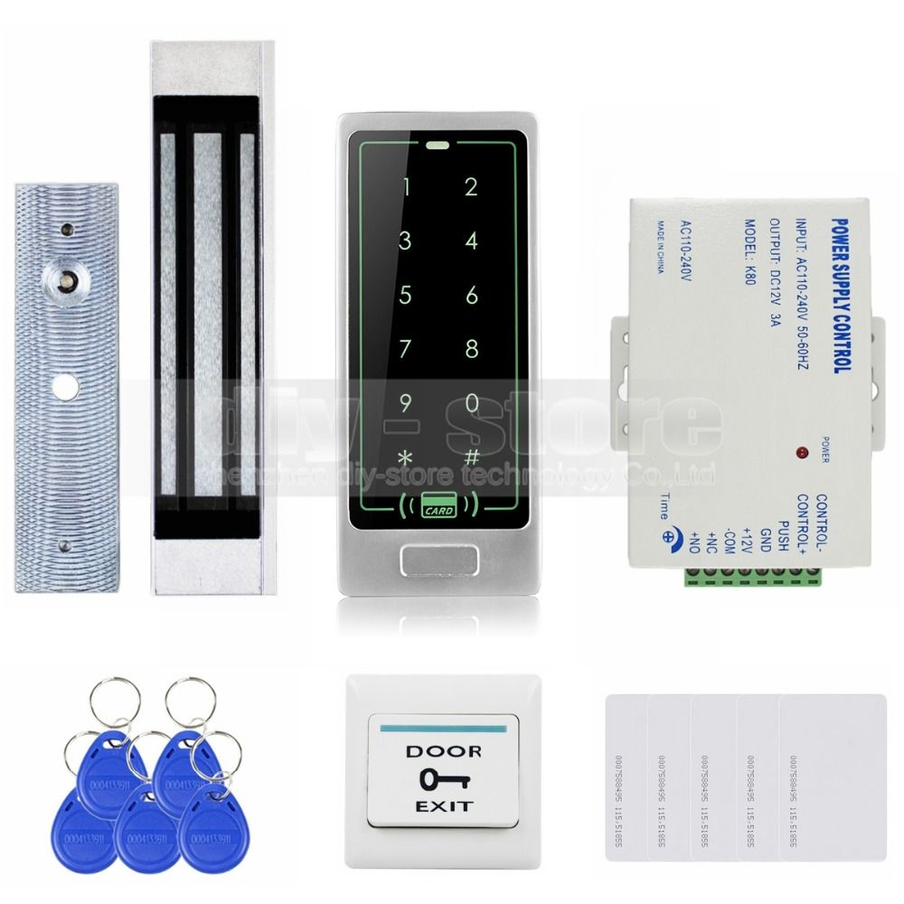 hight resolution of diysecur touch panel rfid reader password keypad door access control security system kit 180kg 350lb magnetic lock 8000 users