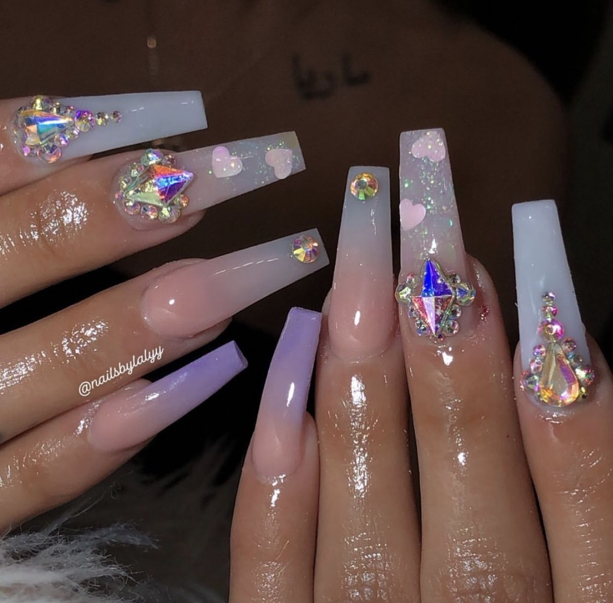 Purple Glitter Ombre Coffin Swarovski Crystal Nails Purple Acrylic Nails Purple Ombre Nails Pink Acrylic Nails