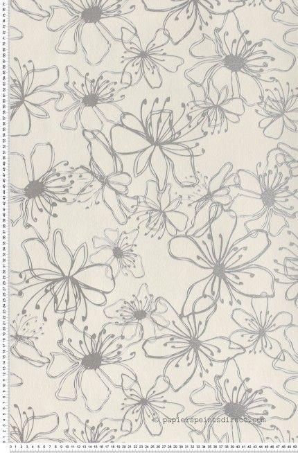 grosses fleurs blanches et argent papier peint naf naf. Black Bedroom Furniture Sets. Home Design Ideas