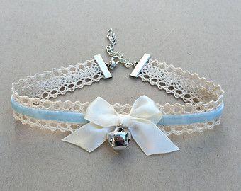 ce424fcc11cab Blue Kitty Bell Chokers - Kawaii Hime Gyaru Sweet Gothic Lolita ...