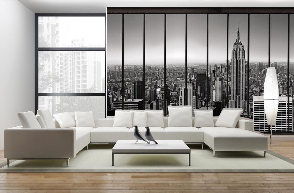 penthouse papier peint trompe l 39 oeil new york salon pinterest papier peint tapisserie. Black Bedroom Furniture Sets. Home Design Ideas