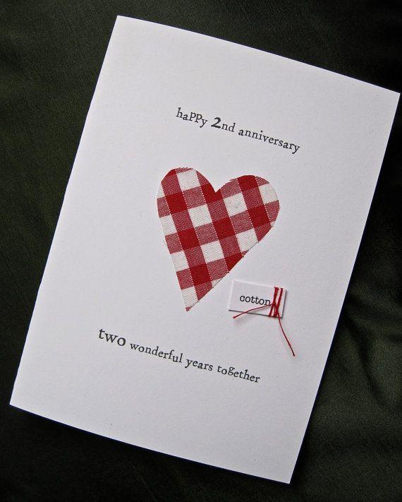 2nd Wedding Anniversary Keepsake Card Cotton by ArtBySeezal, £3.75