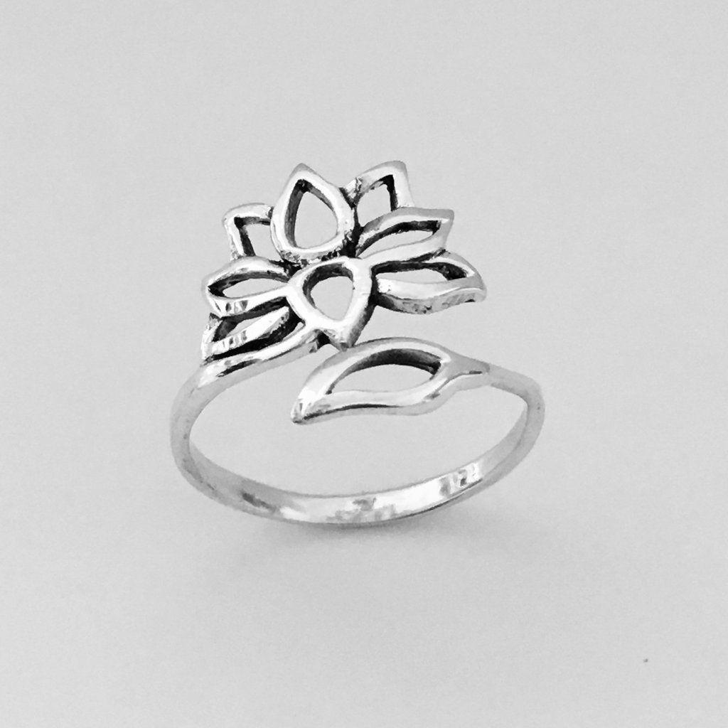 Sterling Silver Lotus Flower Ring, Pinky Ring, Midi Ring, Index Ring, Thumb Ring