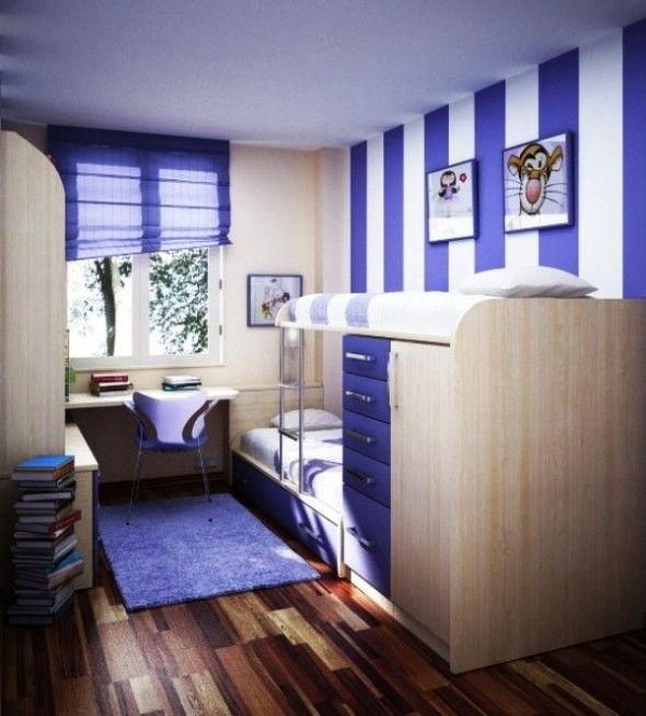 Design Small Living Spaces. Brilliant Blue And White Stripes Add Charm To  This Space.