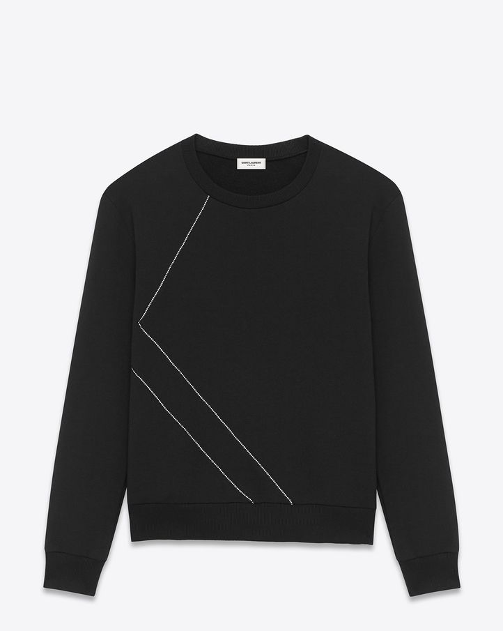 6358fbb37ba saintlaurent, Classic Crewneck Studded Sweatshirt in Black French  Terrycloth and Clear Crystal