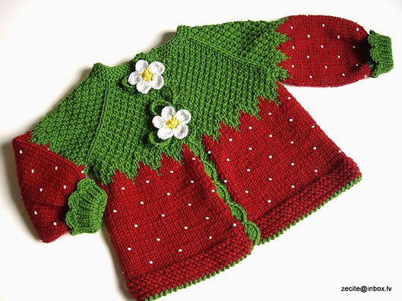 Photo of Ähnliche Artikel wie Gestrickte Baby Jacke rot Erdbeere Baby Mädchen rote Strickjacke / auf Etsy