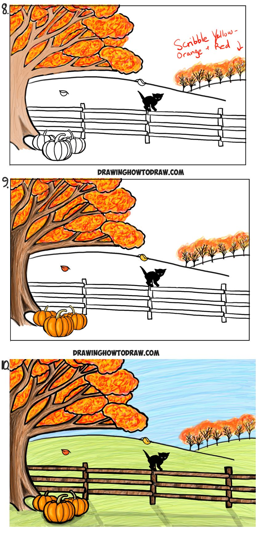 How To Draw An Autumn Fall Scene Step By Step Drawing Tutorial For Kids How To Draw Step By Step Drawing Tutorials Drawing Tutorials For Kids Drawing Tutorial Fall Leaves