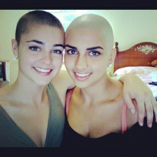 woman shave Bald head