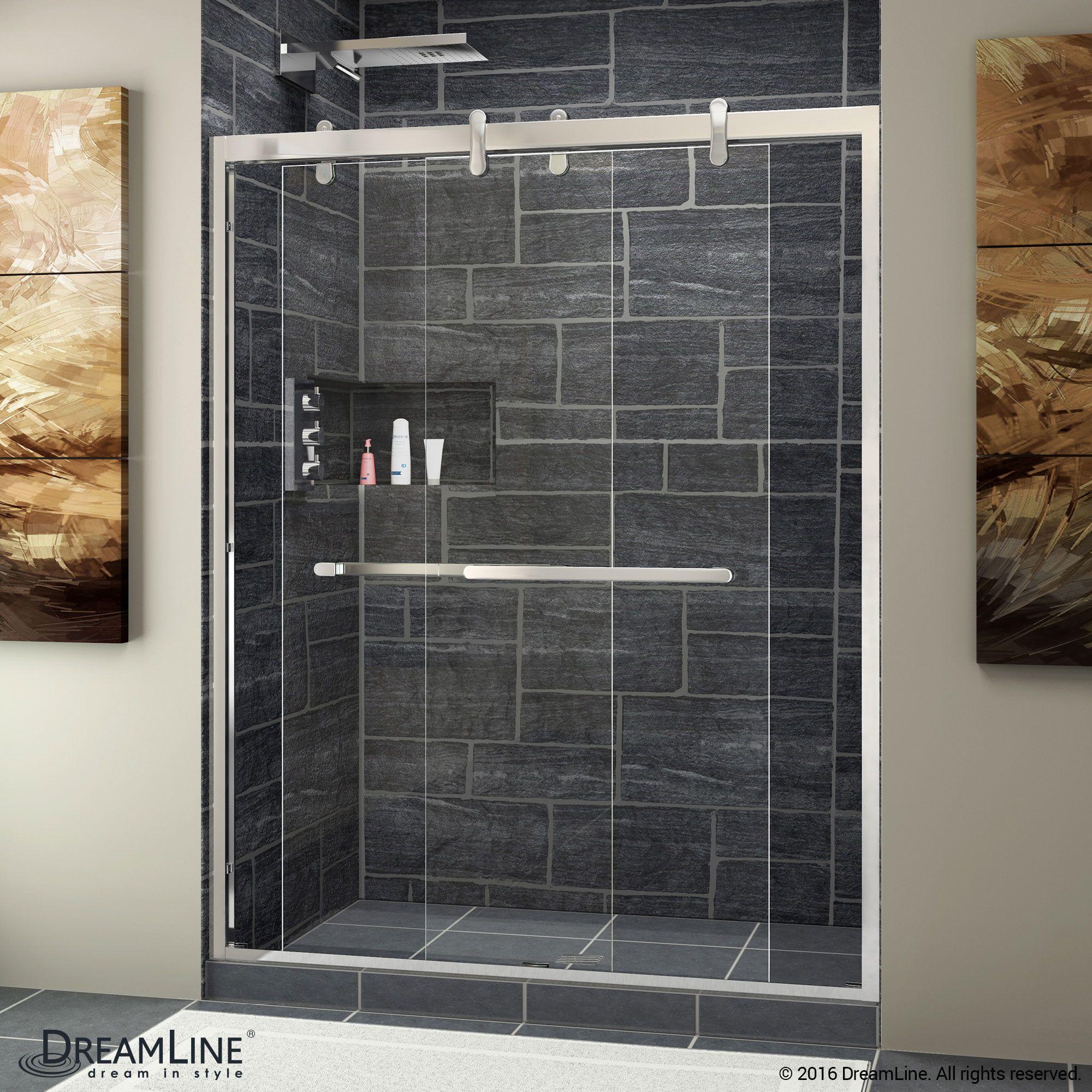 Cavalier 56 W X 77 38 H Bypass Semi Frameless Shower Door With Clearmax Technology Sliding Shower Door Shower Doors Bypass Sliding Shower Doors