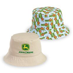 Handmade reversible cotton Sun hat with pink tractors and cows