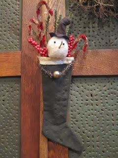 Cute stocking with snowman and candy canes, now on sale at Green Creek Primitives blog