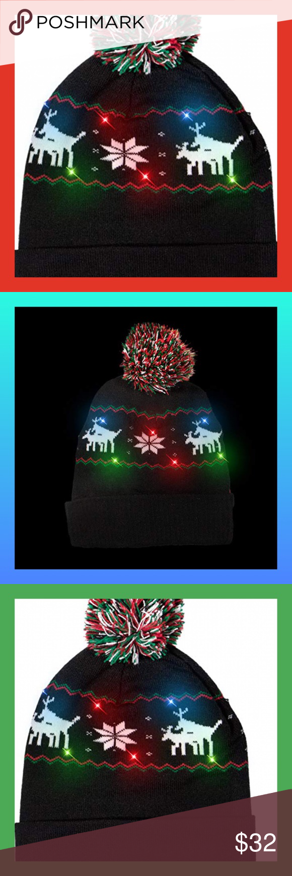 cf0467ddd450d 🎄NEW🎄LED Light-Up Holiday Beanie IMPORTANT  To activate the lights you
