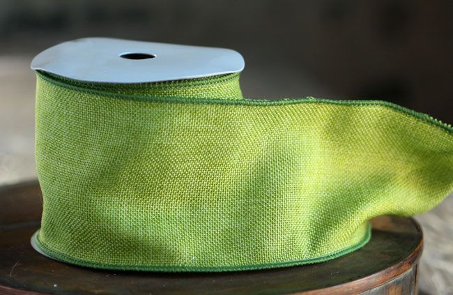Apple Green Faux Burlap 100 Wired Ribbon 4 Inch X 10 Yard Bolt Burlap Fabric Burlap Wired Ribbon