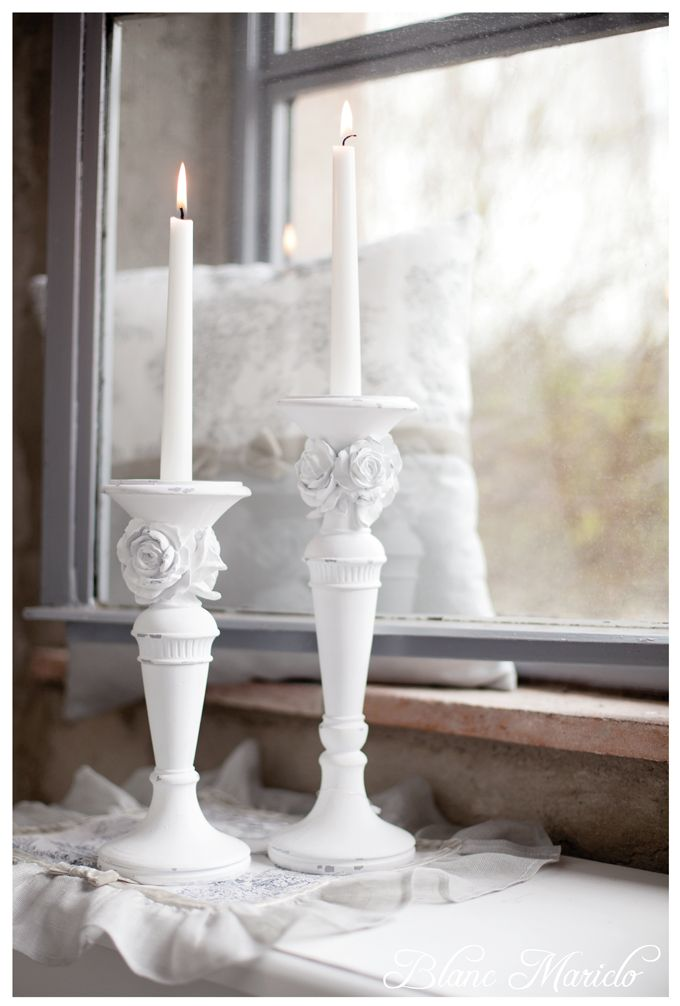 candle holder shabby and chic Blanc Mariclo | *~Candle Light ...