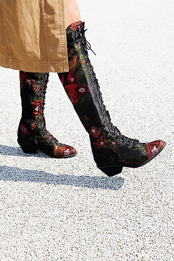 Free People Floral Joe Lace Up Boots 8 298 Otk Over The
