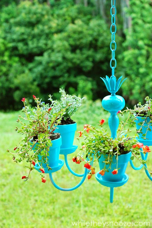 Make An Outdoor Hanging Plant Chandelier From An Old Light Fixture Upcycle Garden Chandelier Planter Old Chandelier