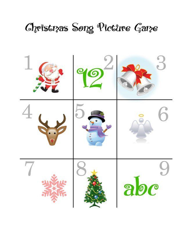 free christmas printable games kids christmas carols picture game - Free Printable Games For Kids