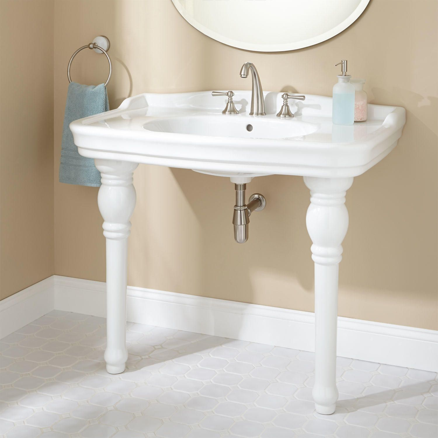 "Bathroom Sinks Nottingham 35"" janson porcelain console sink 