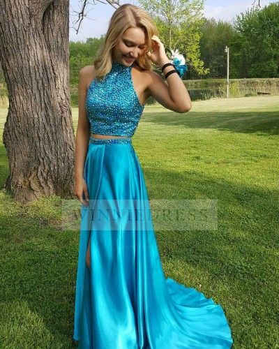 c27e36a0705c5 High Neck Long Satin Ocean Blue High Slit Two Piece Prom Dress with Beaded  Top