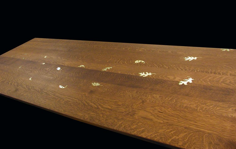 Image result for inlaid oak brass table