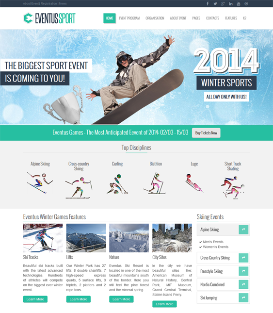 This sports Joomla theme includes a drag and drop layout