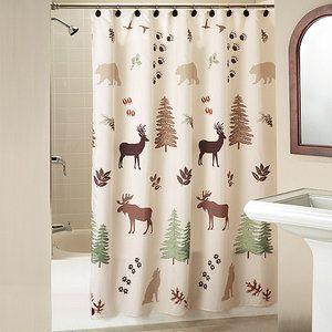 Silhouette Lodge Shower Curtain With Bonus Hooks Stuart S Dream Bathroom Cabin Shower Curtain Lodge Shower Curtain Curtains