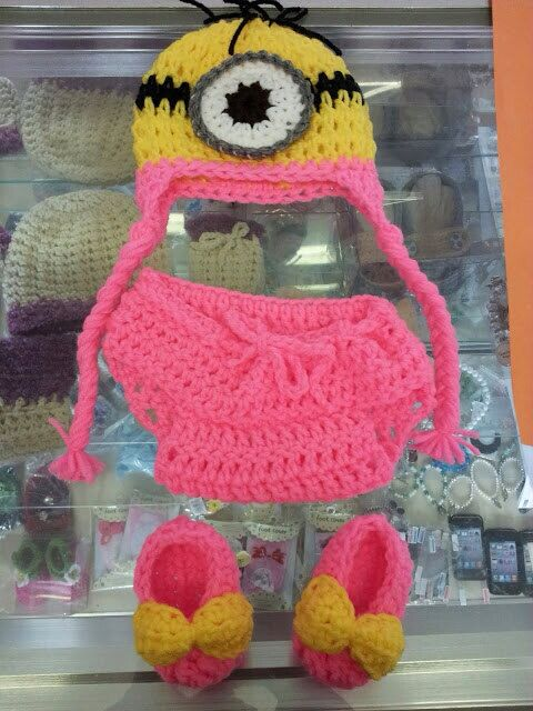 Crochet minion baby costume pink 0-33-66-9 & Crochet minion baby costume pink 0-33-66-9 months on Etsy $25.00 ...