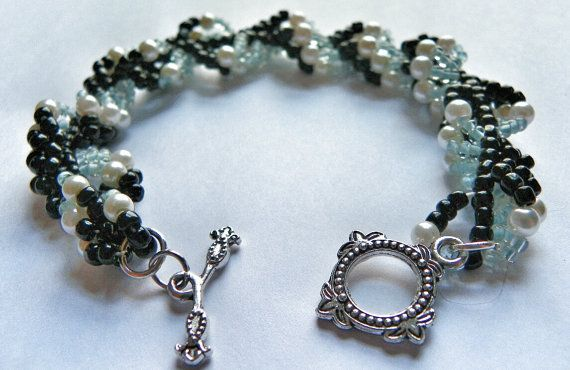 Beadwork Bracelet  Pearl Black and Light Blue Seed by DuMoments