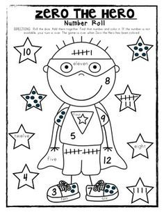 zero the hero coloring page for kindergarten 100th daythe