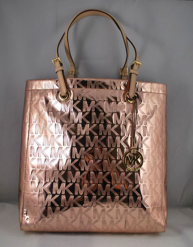 ce78af9959 NWT MICHAEL KORS MK Signature Mirror Metallic North South Tote Bag ROSE GOLD   MichaelKors  TotesShoppers