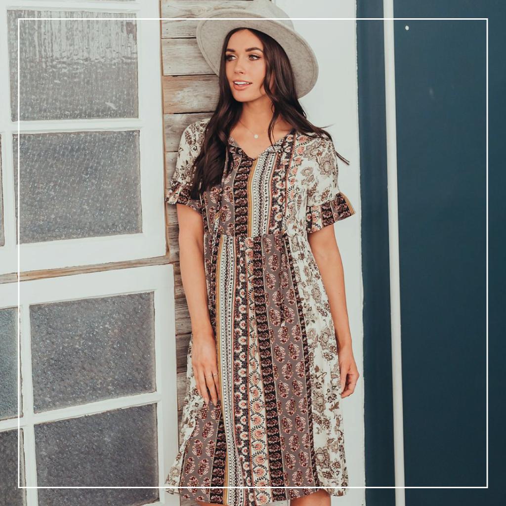 Off Shoulder Tuck Dress By Nicole Miller | Piajeh Boutique