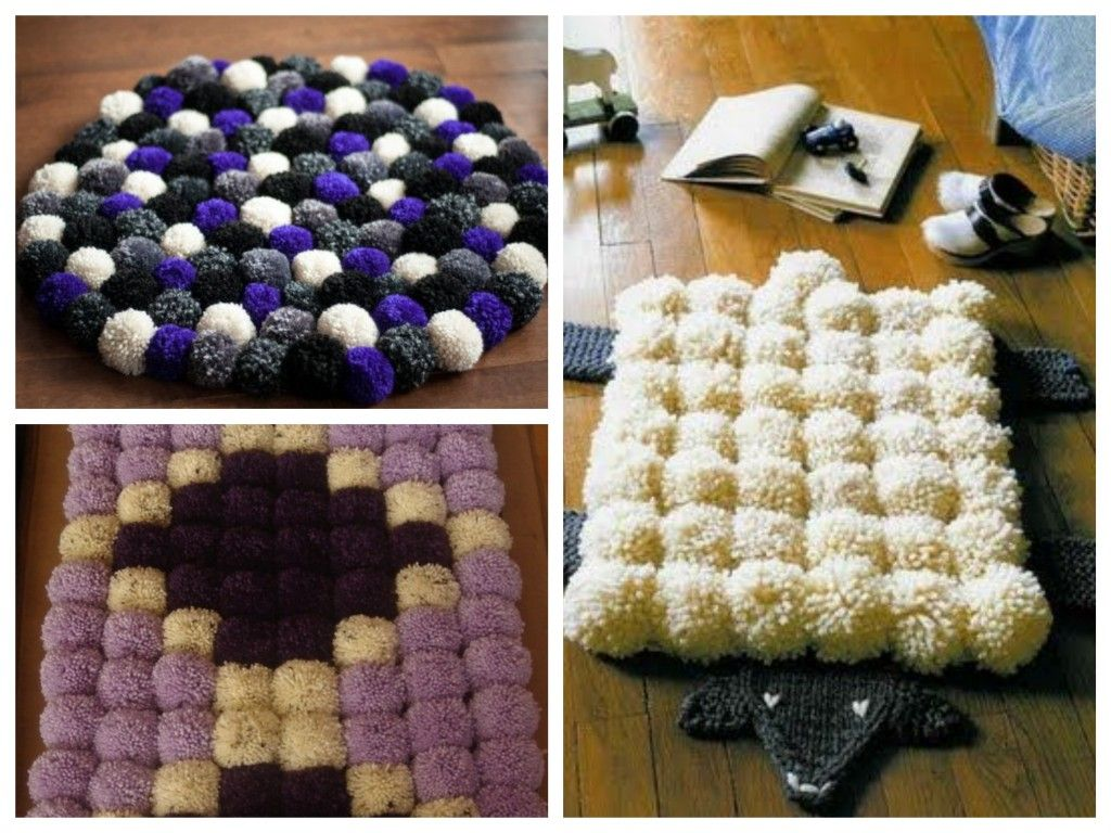 diy tuto tapis de pompons en laine pinterest pompon en laine pompons et laine. Black Bedroom Furniture Sets. Home Design Ideas