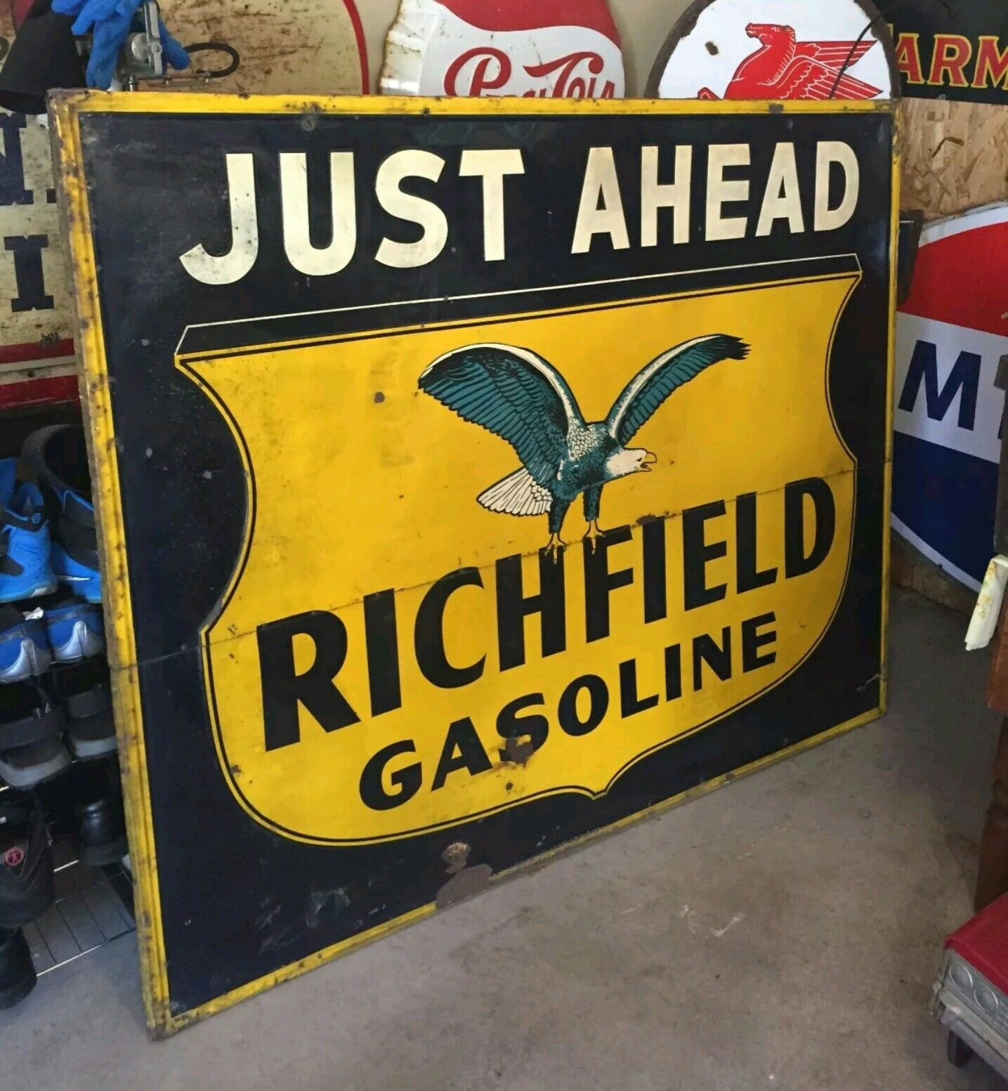 HUGE Original Richfield Gasoline Tin Sign