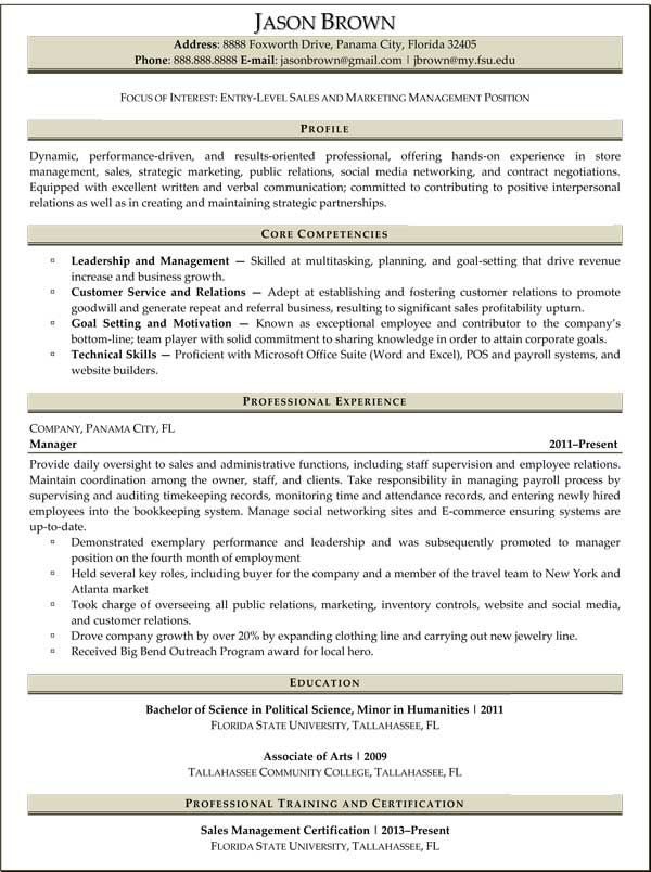 Entry-Level Marketing Resume Samples Entry-level Sales and - sample resume for management position